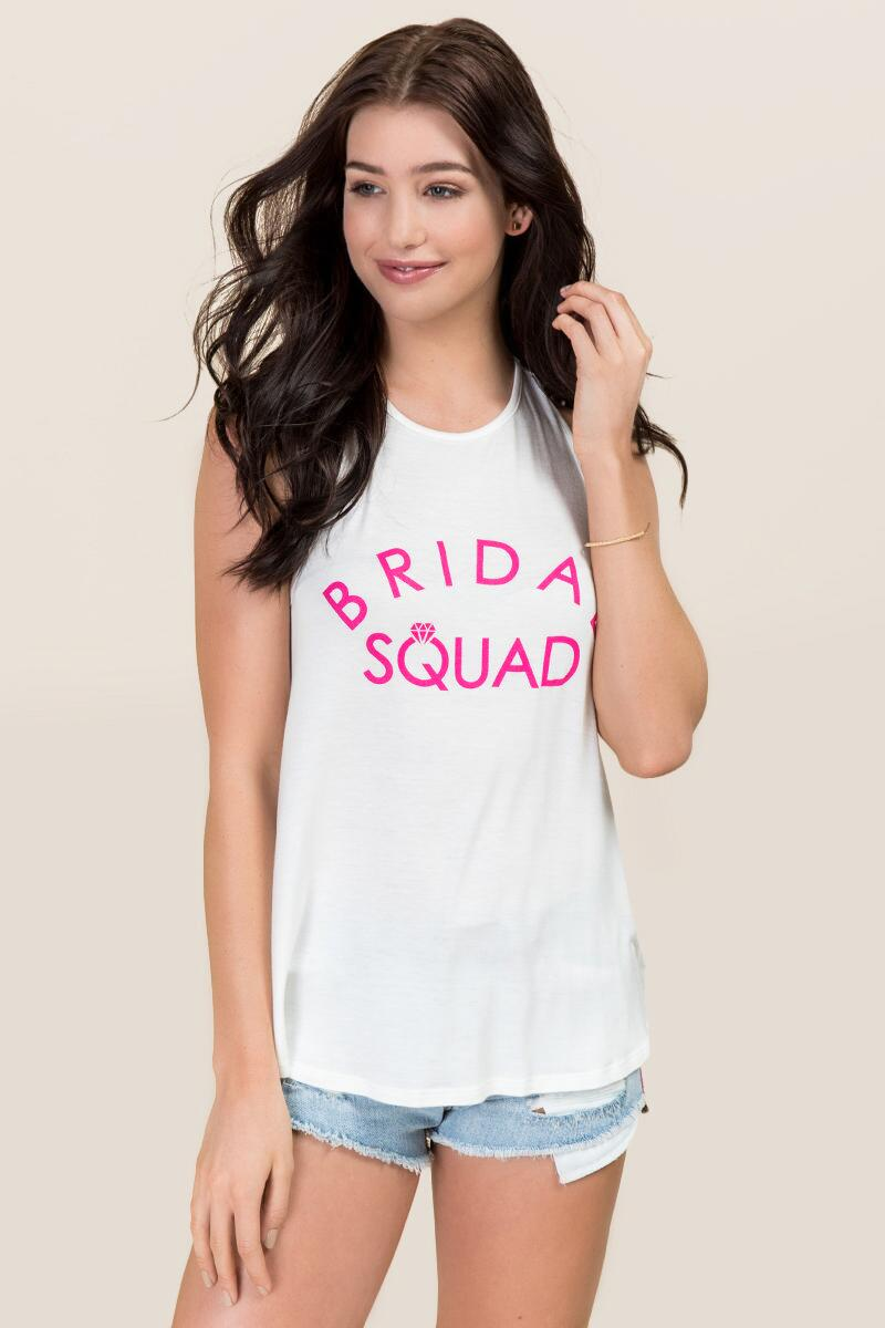 Bridal Squad High Neck Graphic Tank-  white-cl
