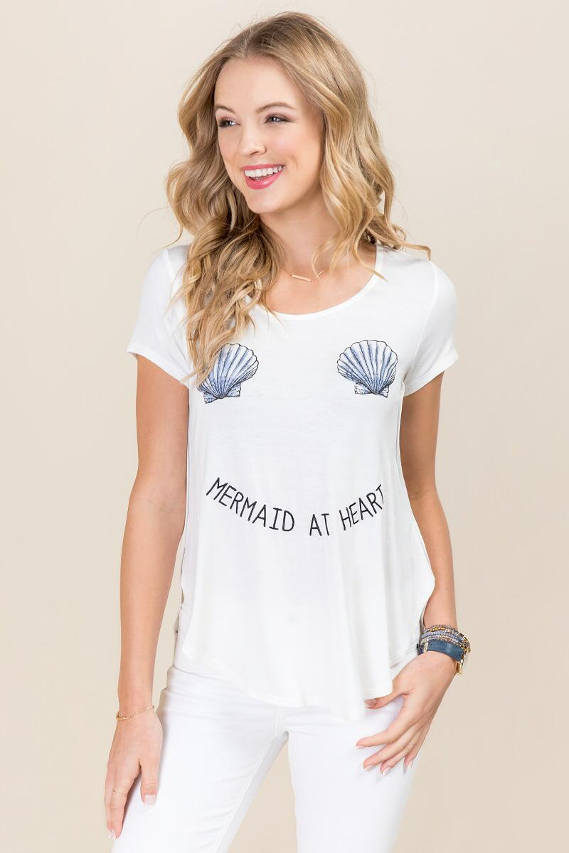 Mermaid At Heart Seashell Graphic Tee-  white-cl