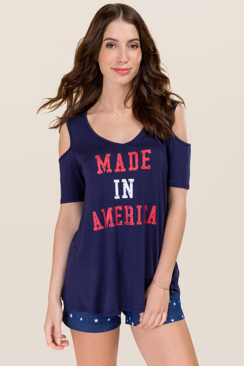 Made In America Cold Shoulder Graphic Tee