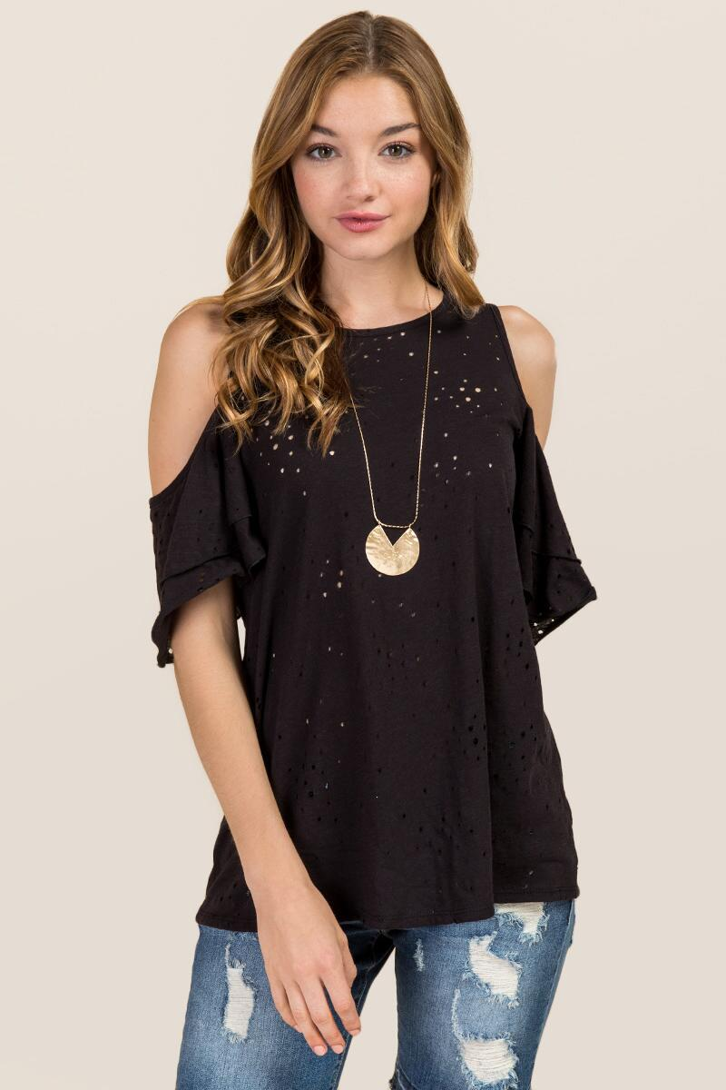 Nerys Double Ruffle Cold Shoulder Distressed Knit Tee
