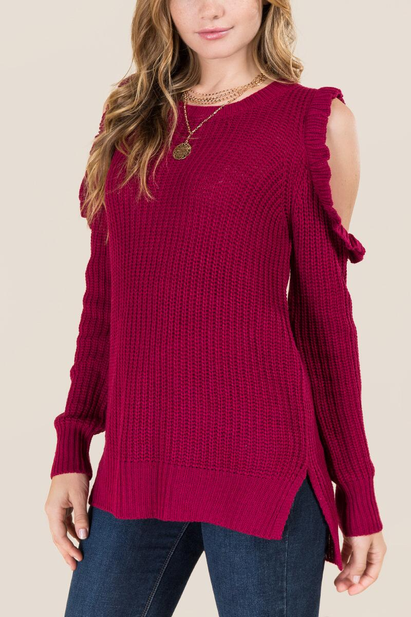 Delina Ruffle Cold Shoulder Pullover Sweater-  burg-cl