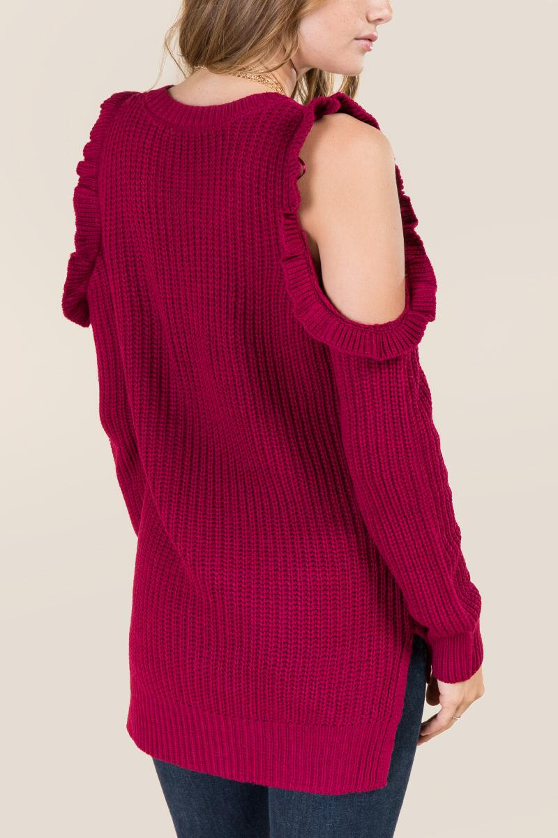 Delina Ruffle Cold Shoulder Pullover Sweater-  burg-clback