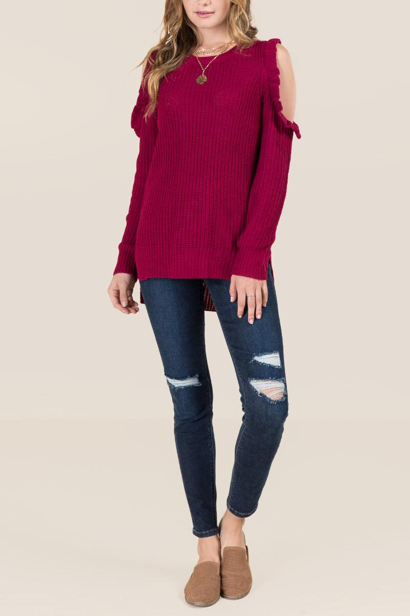 Delina Ruffle Cold Shoulder Pullover Sweater-  burg-clmodel