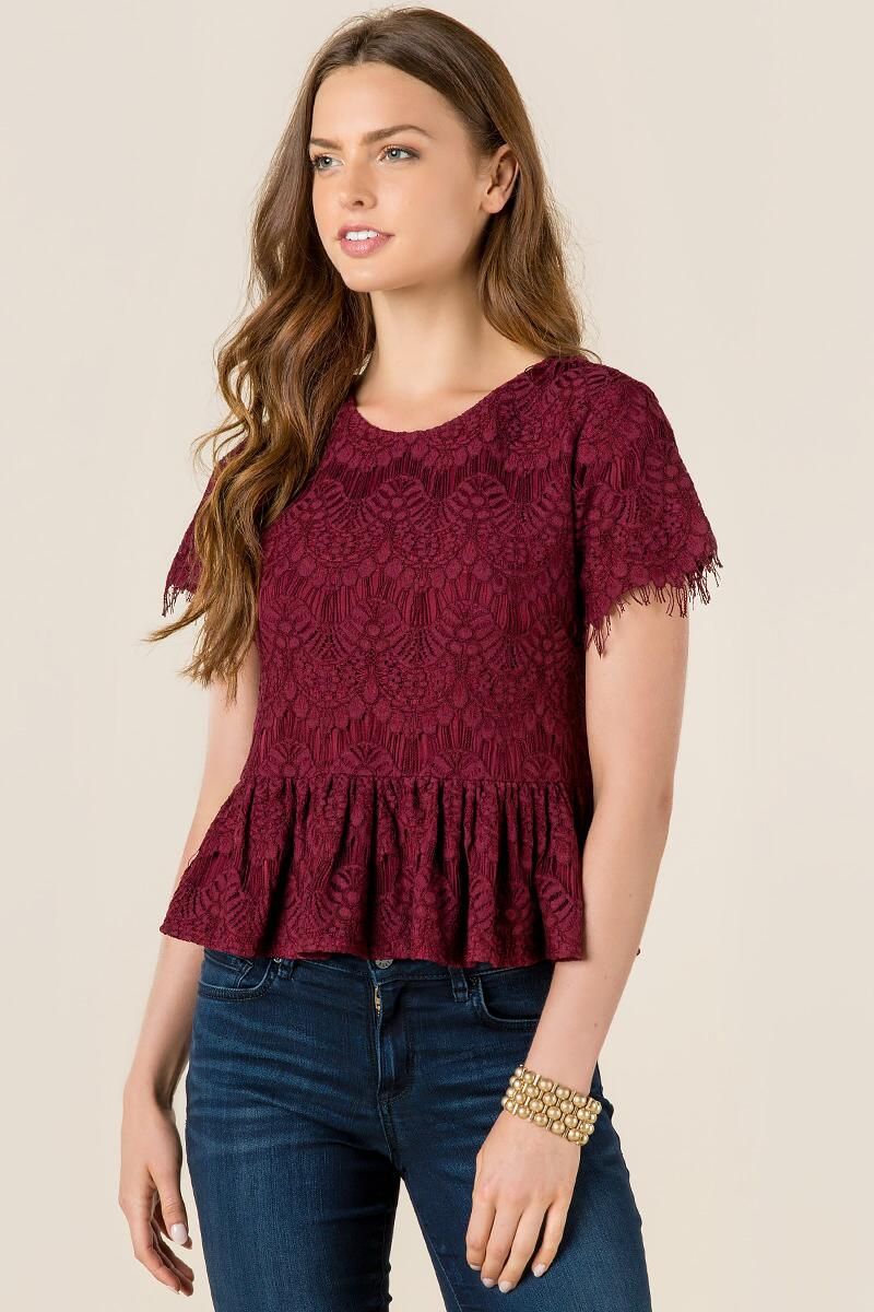 Val Lace Peplum Top