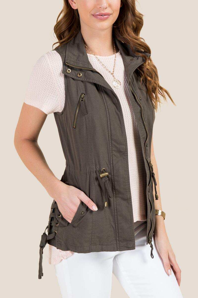 Kaylee Lattice Linen Vest