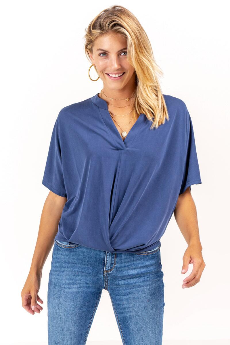 Morgan Pleated Front Top-navy-cl
