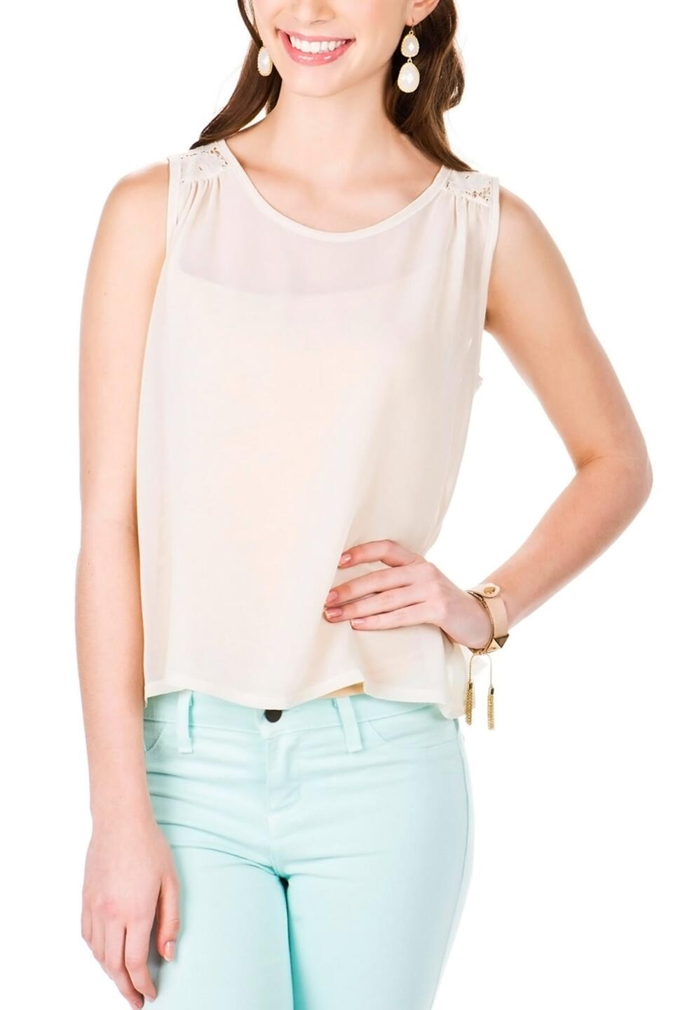 Indio Lace Peplum Top-  ivry-cl