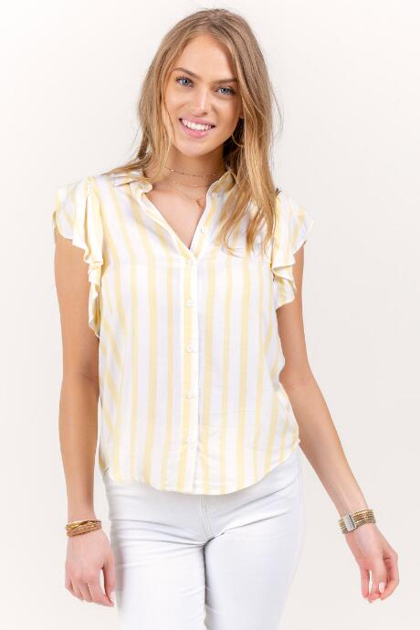Karson Striped Button Down Top