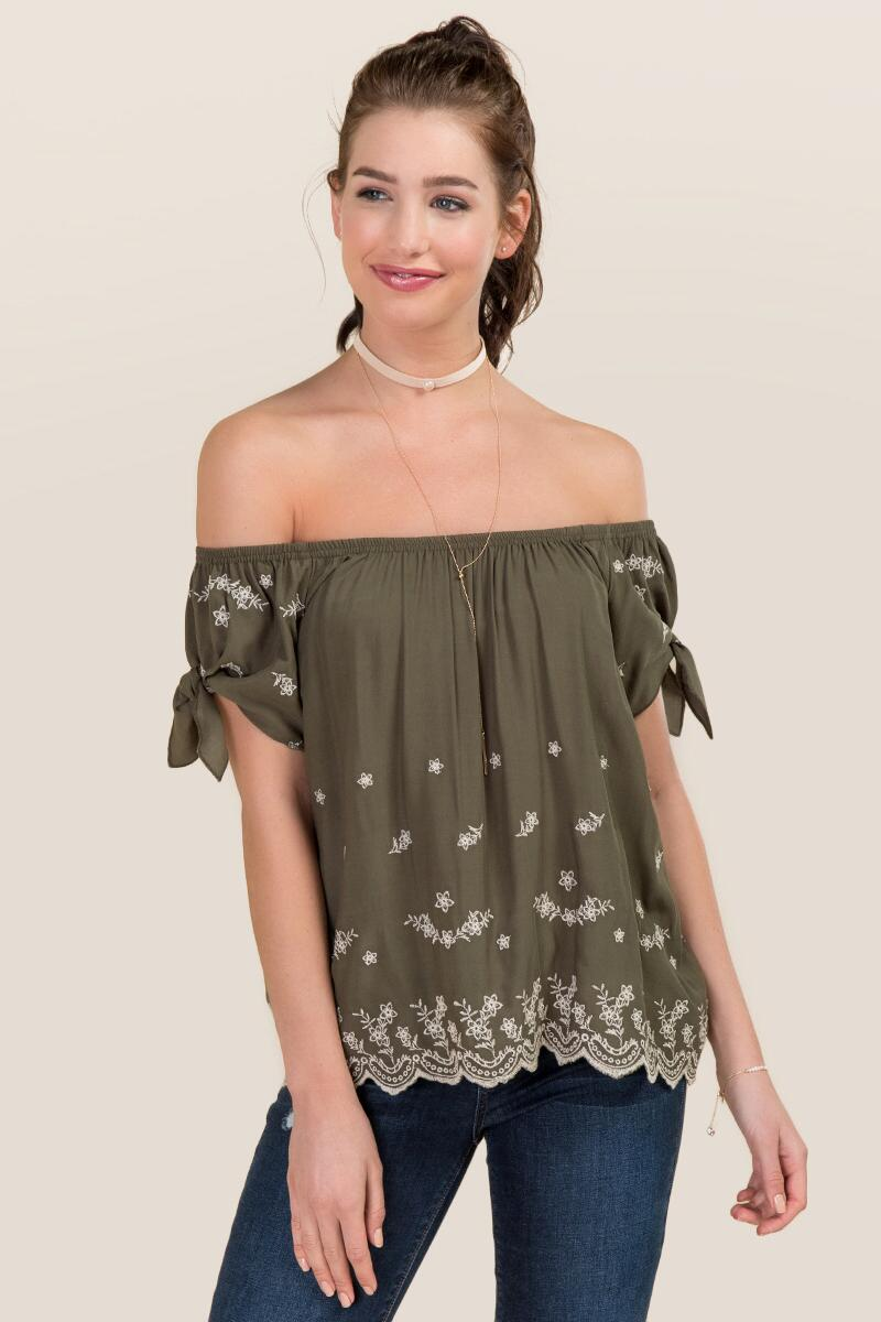 Avaline Embroidered Off The Shoulder Tie Sleeve Top-  dkolv-cl