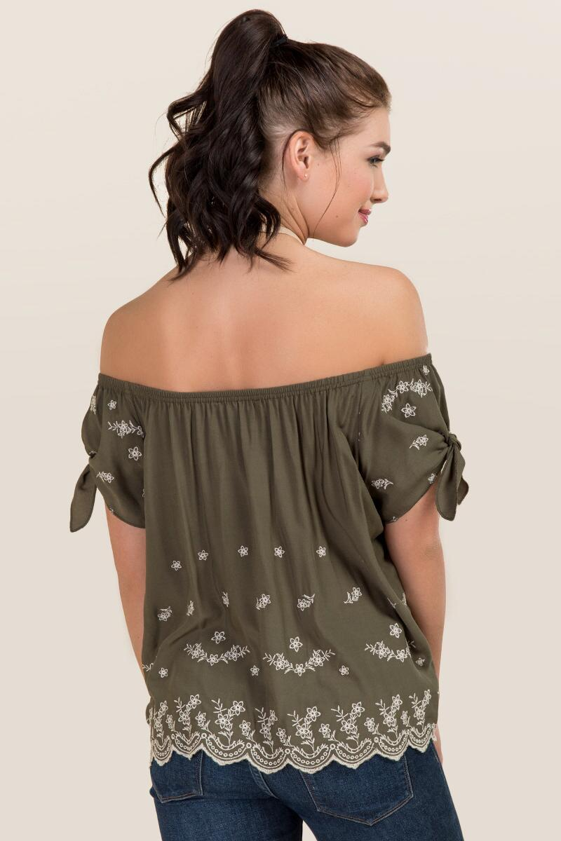 Avaline Embroidered Off The Shoulder Tie Sleeve Top-  dkolv-clback