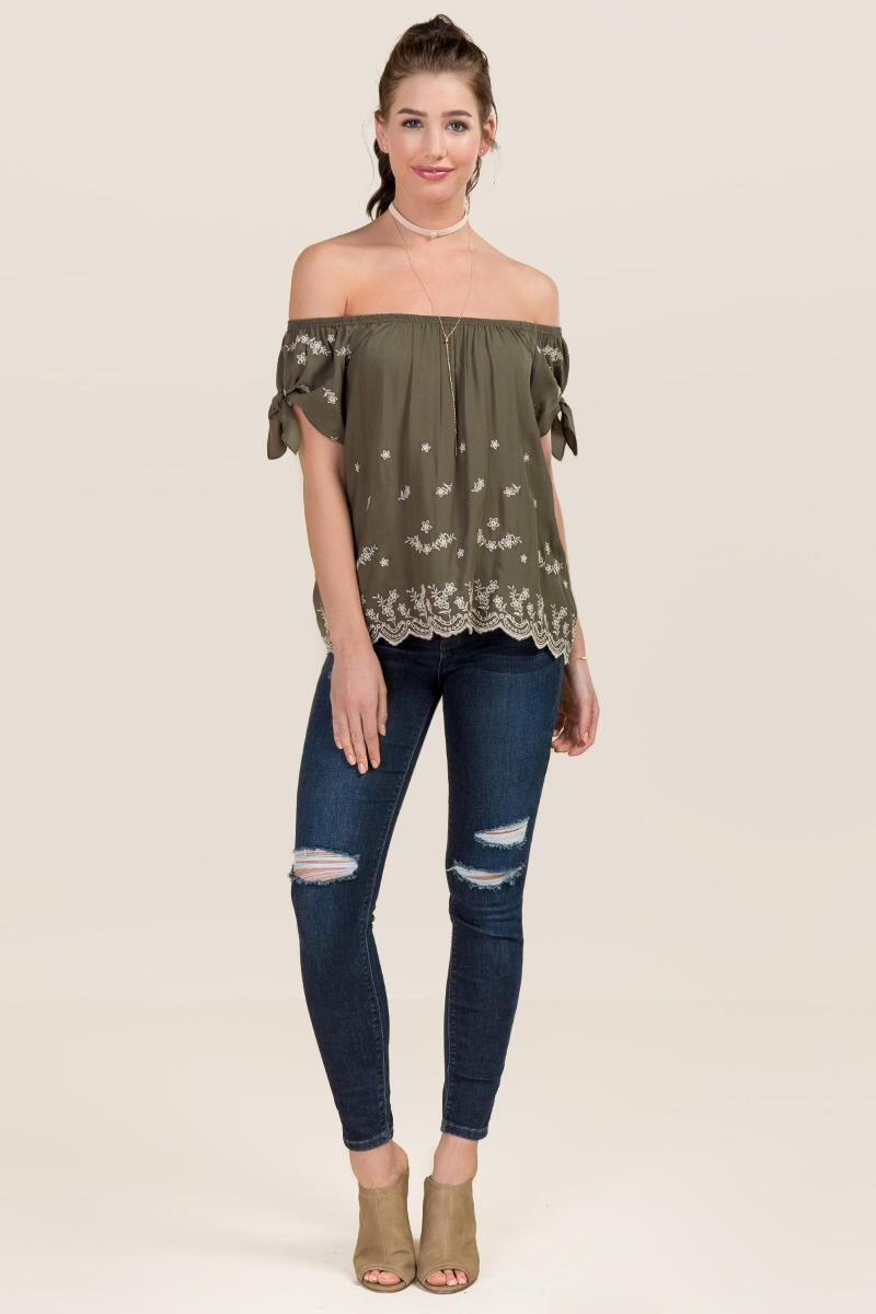 Avaline Embroidered Off The Shoulder Tie Sleeve Top-  dkolv-clmodel