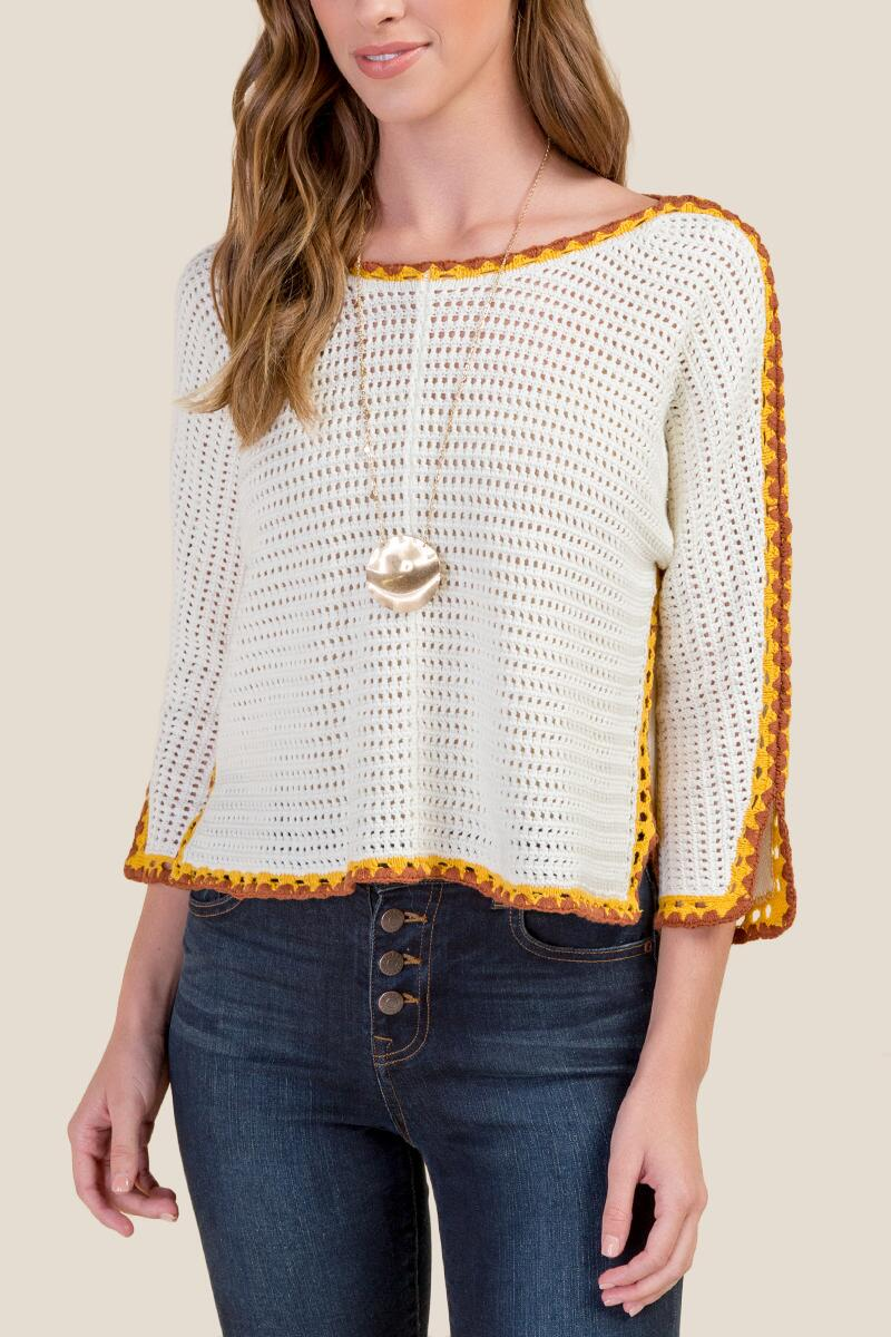 Raquel Crochet Edge Pullover Sweater-  ivry-cl