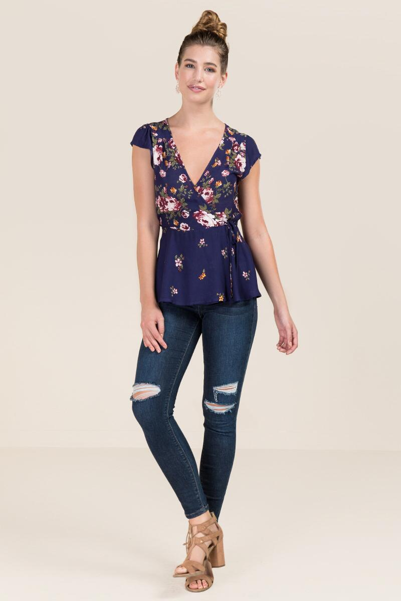 Paloma Floral Wrap Blouse-  navy-clmodel