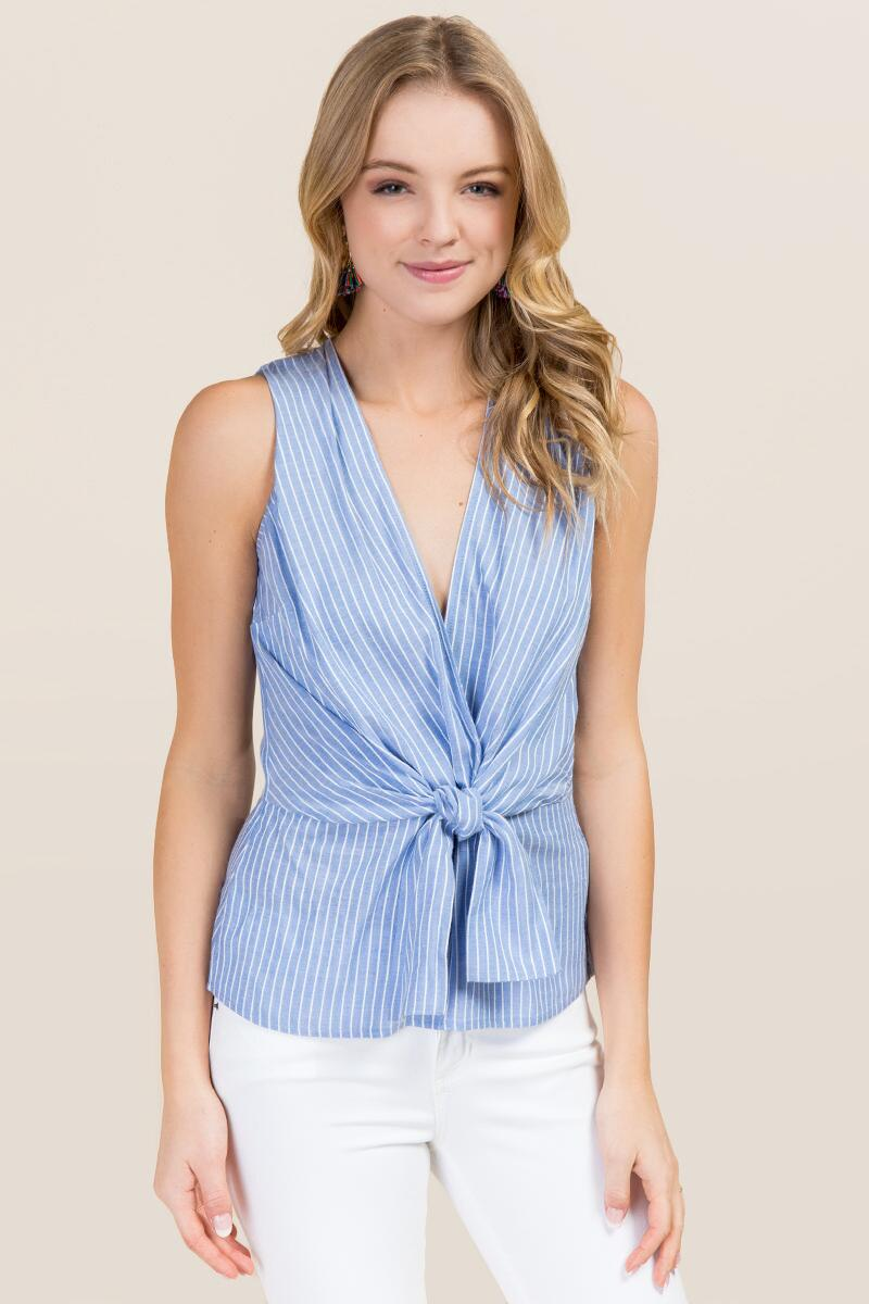 Cassidy Striped Tie Front Tank