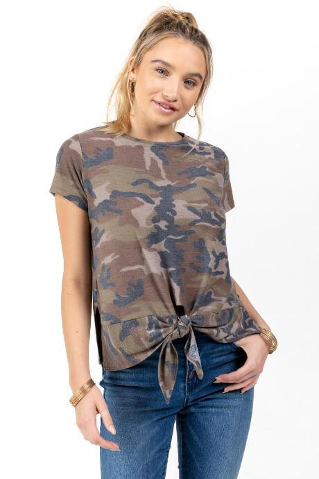 Monique Front Tie Camo Tee