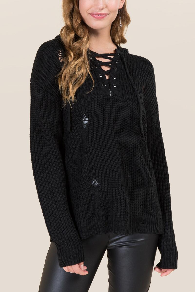 Lara Destructed Lace Up Pullover Sweater