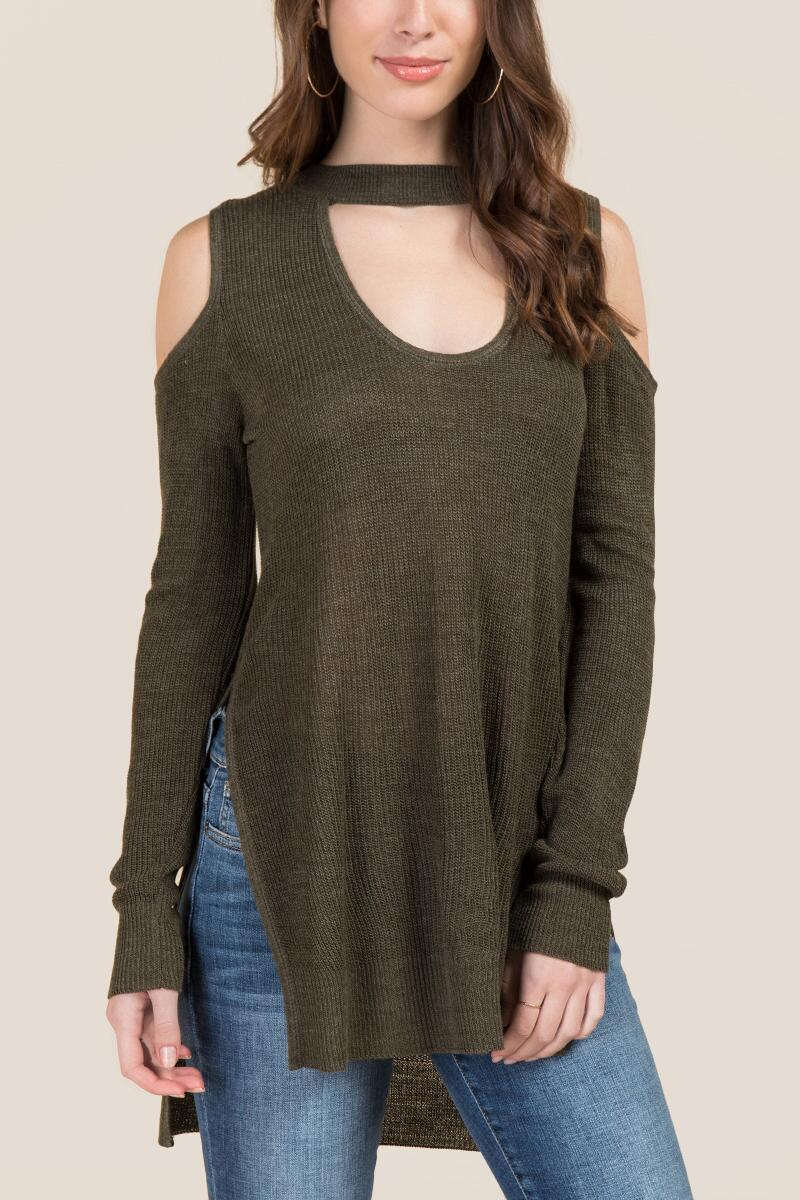 Khloe Cold Shoulder Choker Tunic