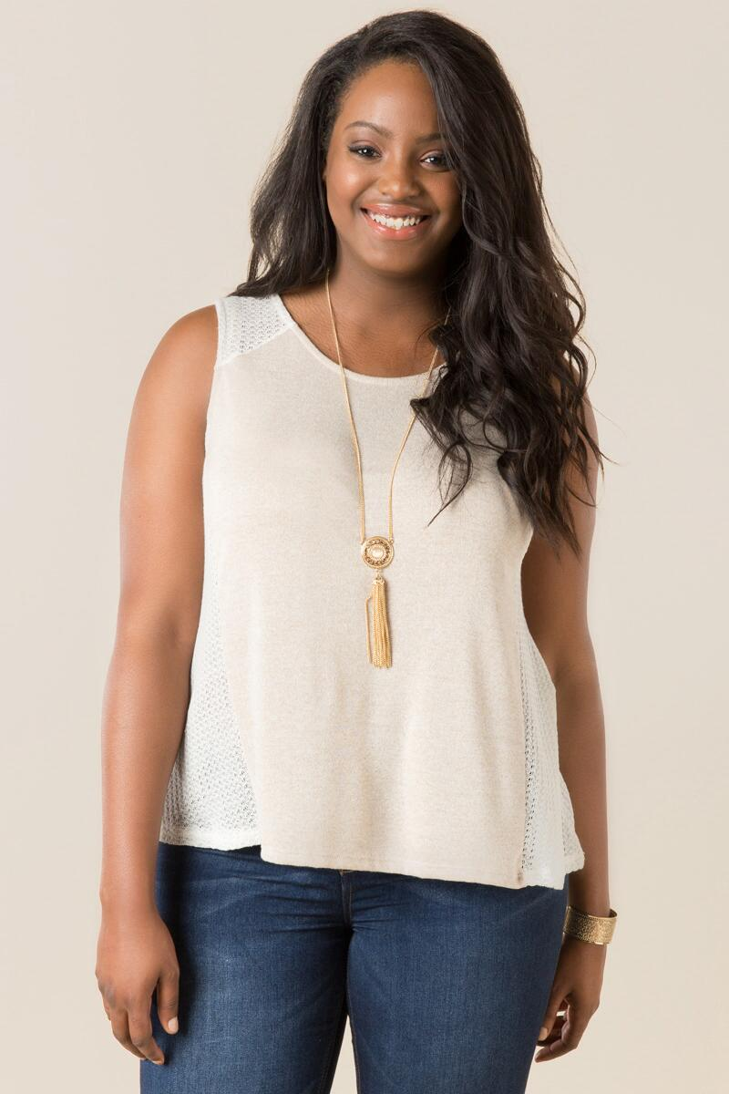 Plus Size Covington Knit Tank-  taup-cl