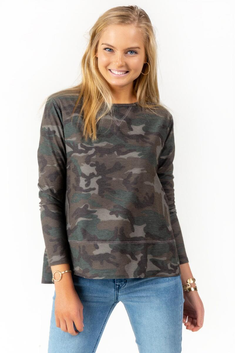 Vivianna Side Slit Camo Sweater-  dkolv-cl