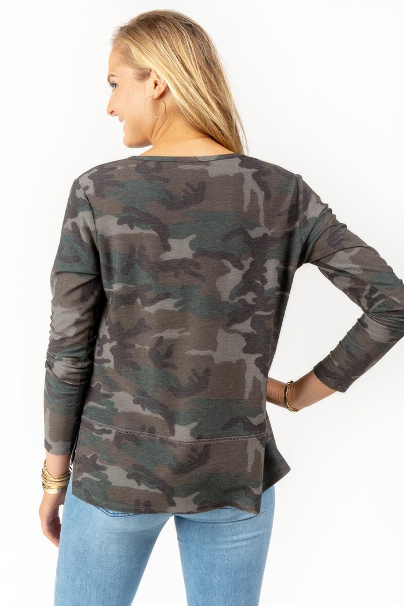 Vivianna Side Slit Camo Sweater-  dkolv-cl2