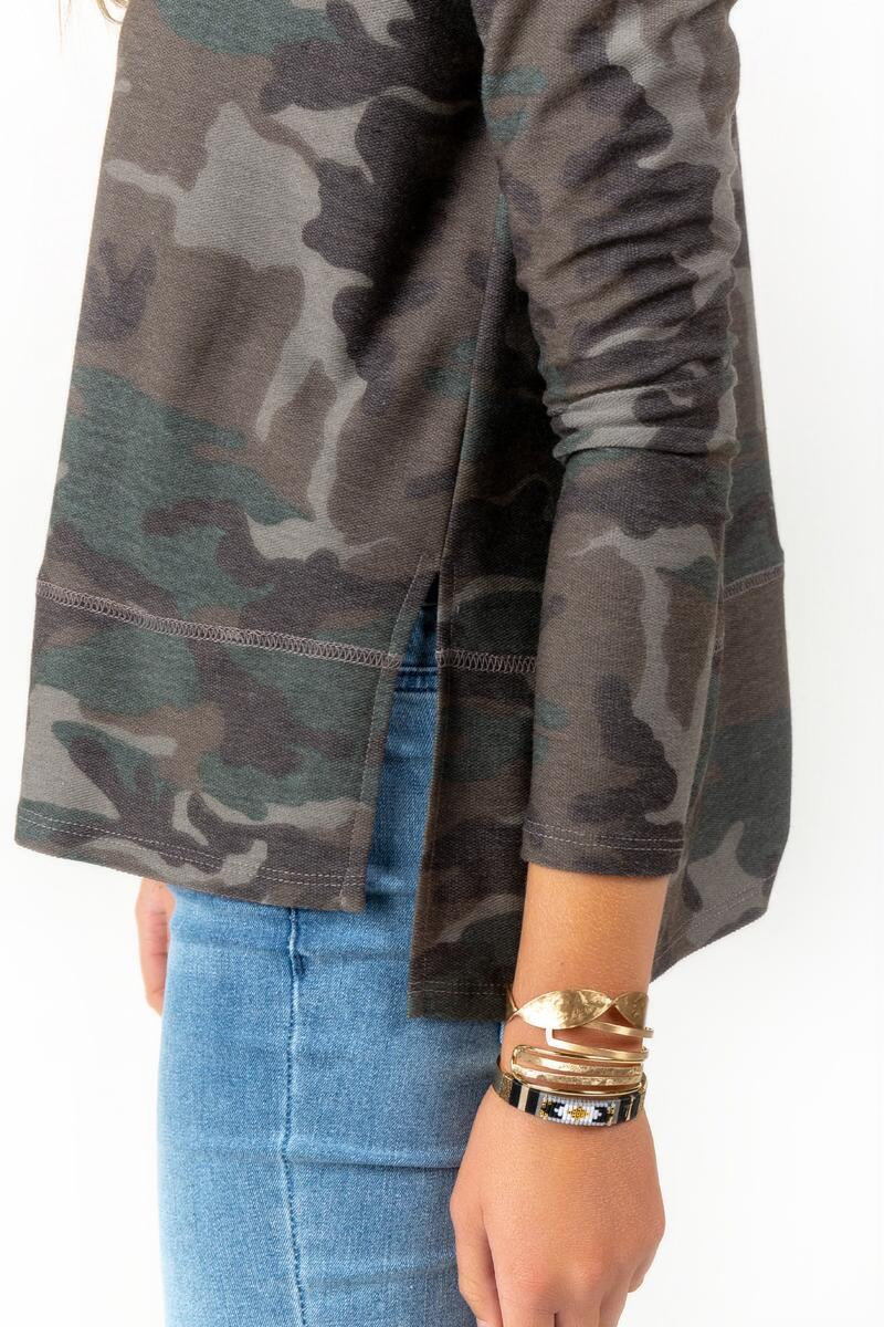 Vivianna Side Slit Camo Sweater-  dkolv-cl3