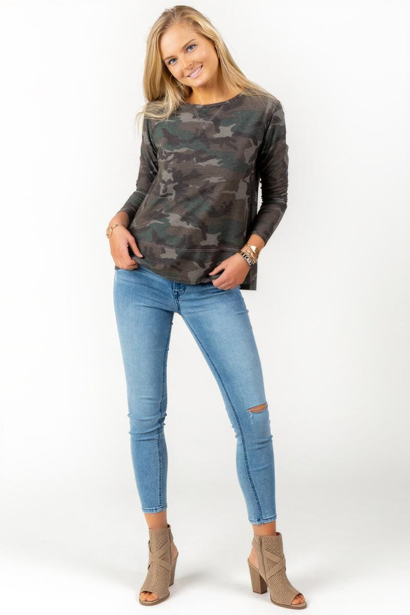 Vivianna Side Slit Camo Sweater-  dkolv-cl4