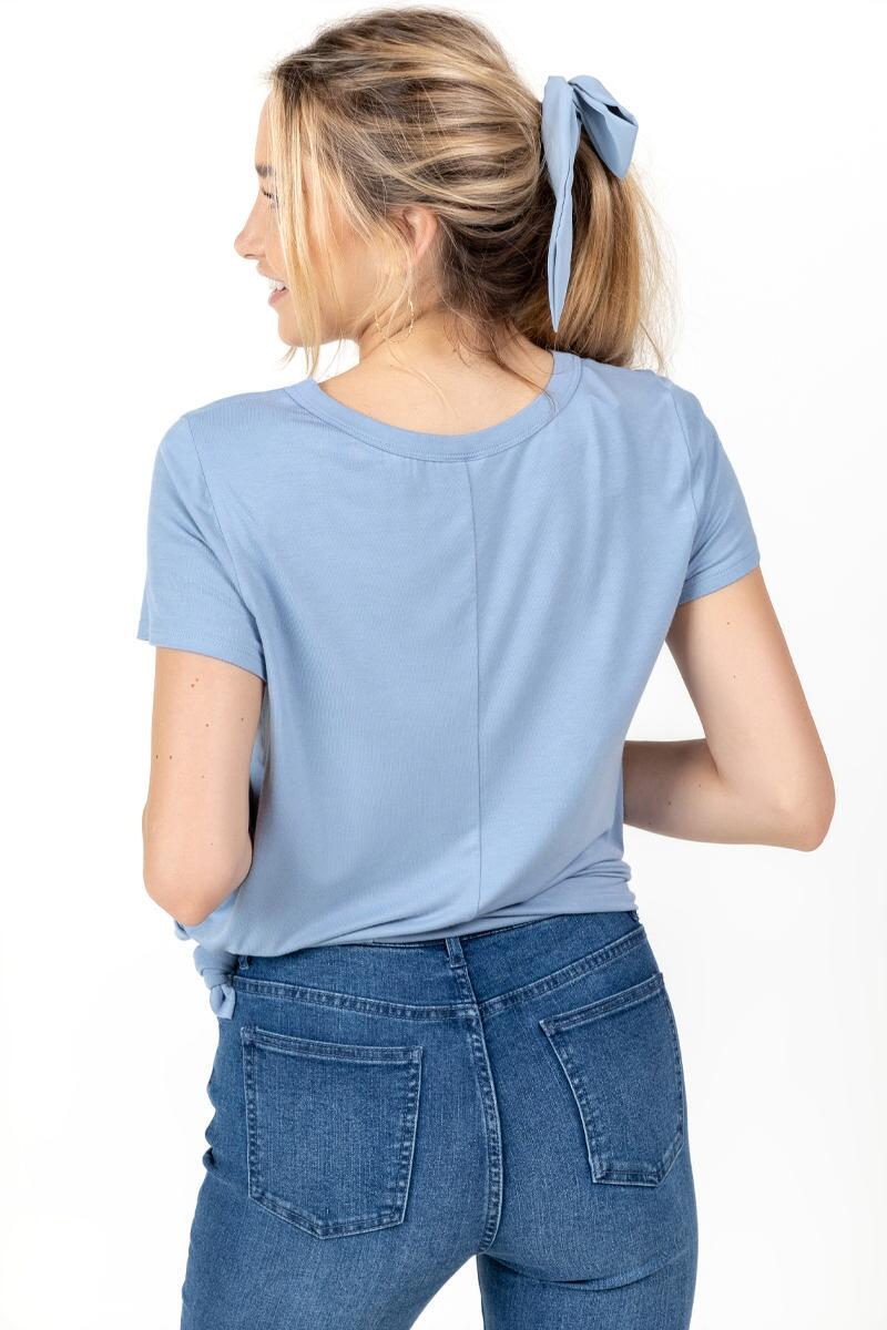 Indoorsy Front Knot Tee-  ltblu-cl2