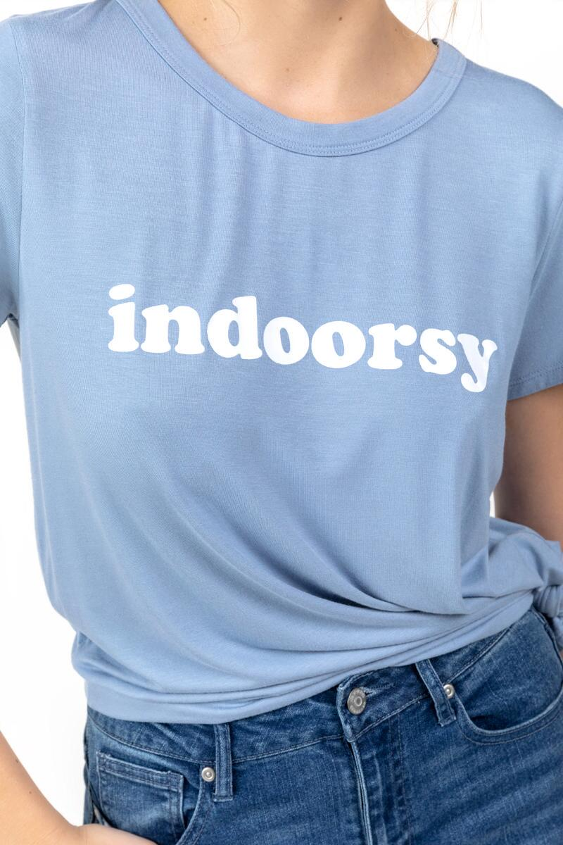 Indoorsy Front Knot Tee-  ltblu-cl3