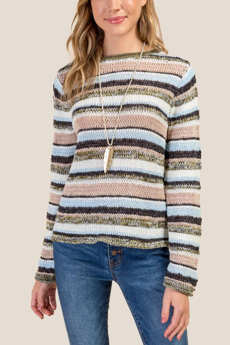 Emerson Striped Mixed Yarn Multi Stripe Sweater-  navy-cl