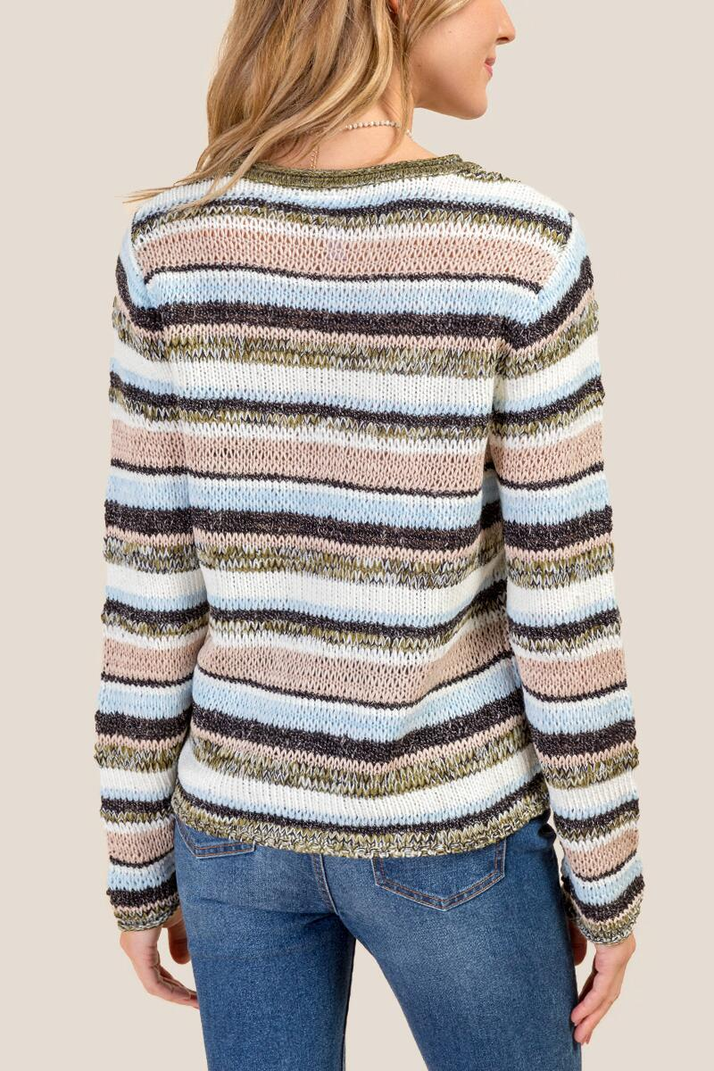 Emerson Striped Mixed Yarn Multi Stripe Sweater-  navy-cl2