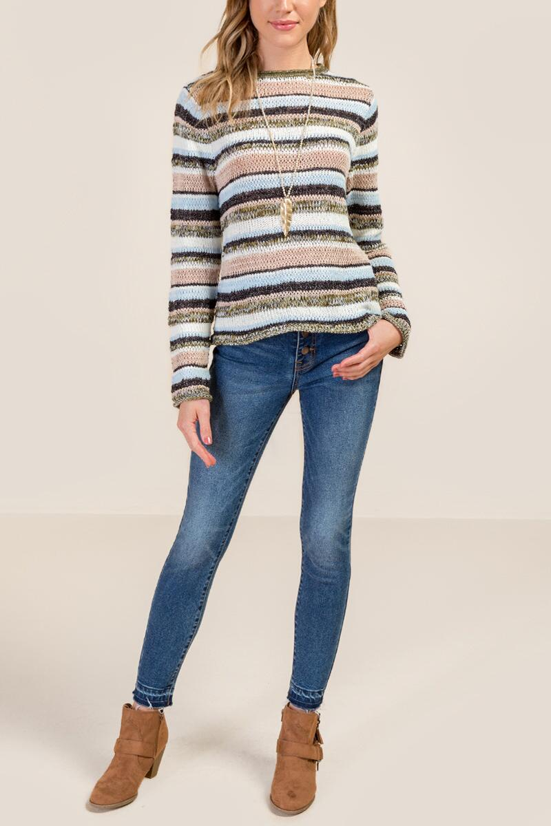 Emerson Striped Mixed Yarn Multi Stripe Sweater-  navy-cl4