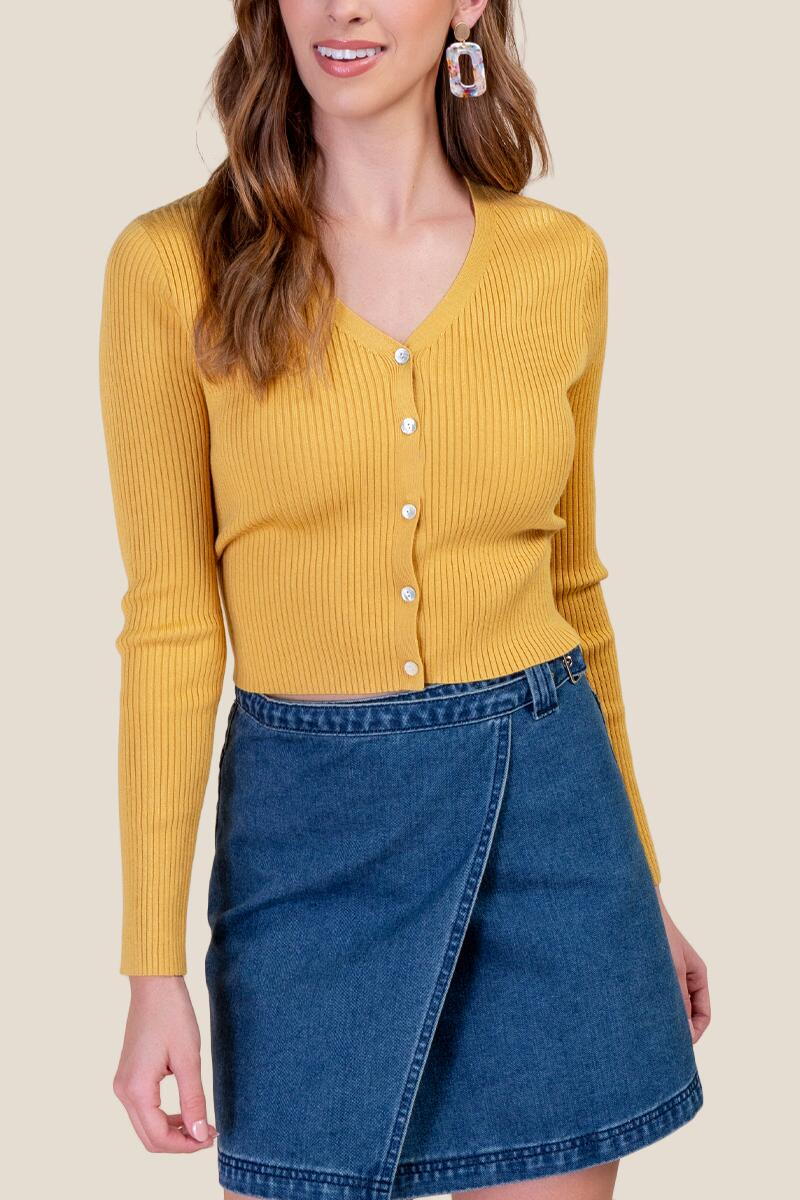 Autumn Cropped Cardigan- Sunshine
