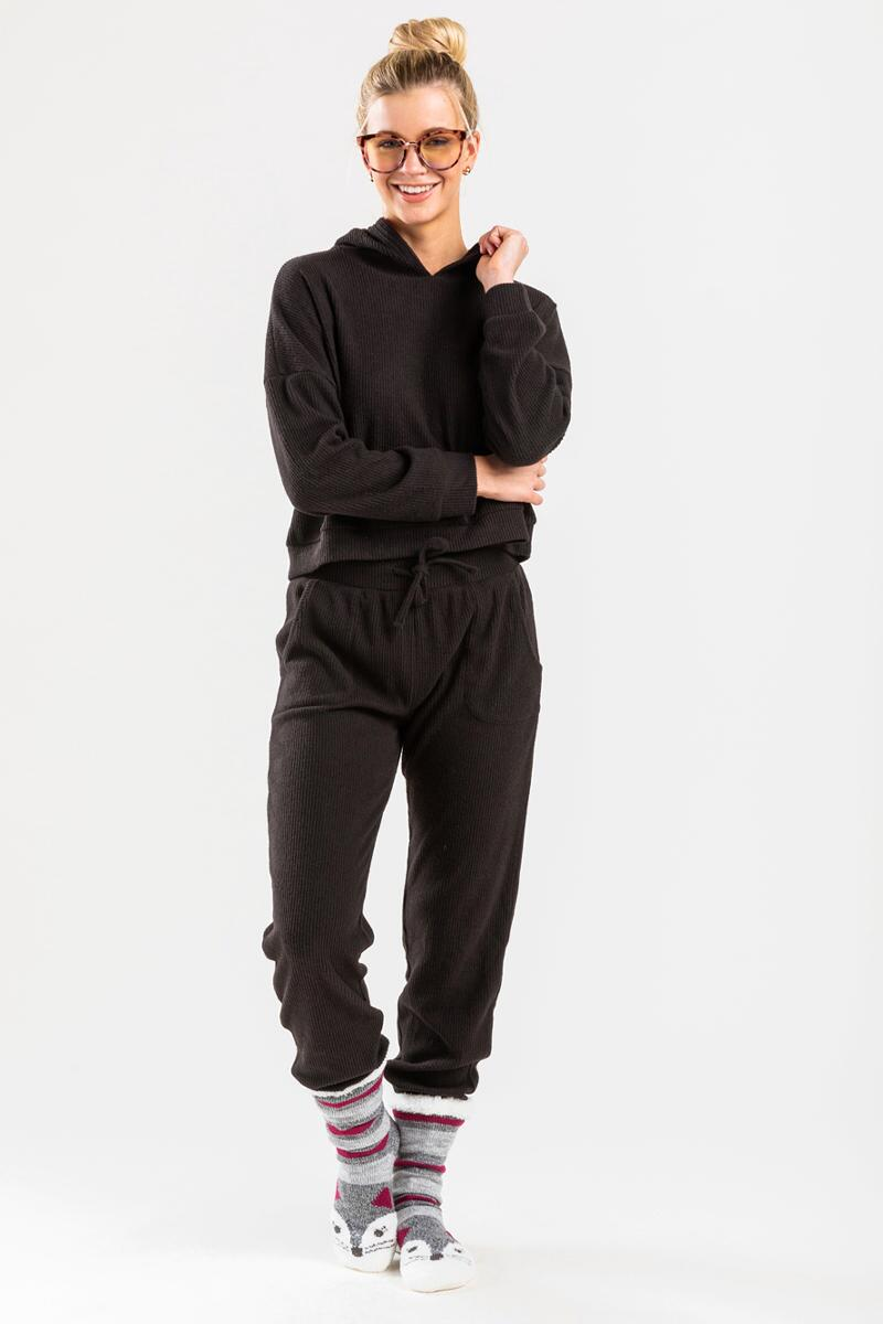 Tabatha Ribbed Cropped Sweatshirt-Black 2