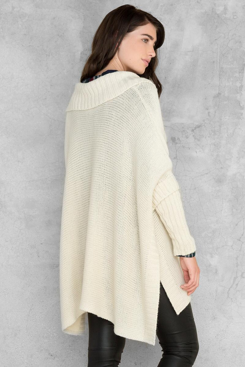Amanda Poncho Sweater-  taup-clback