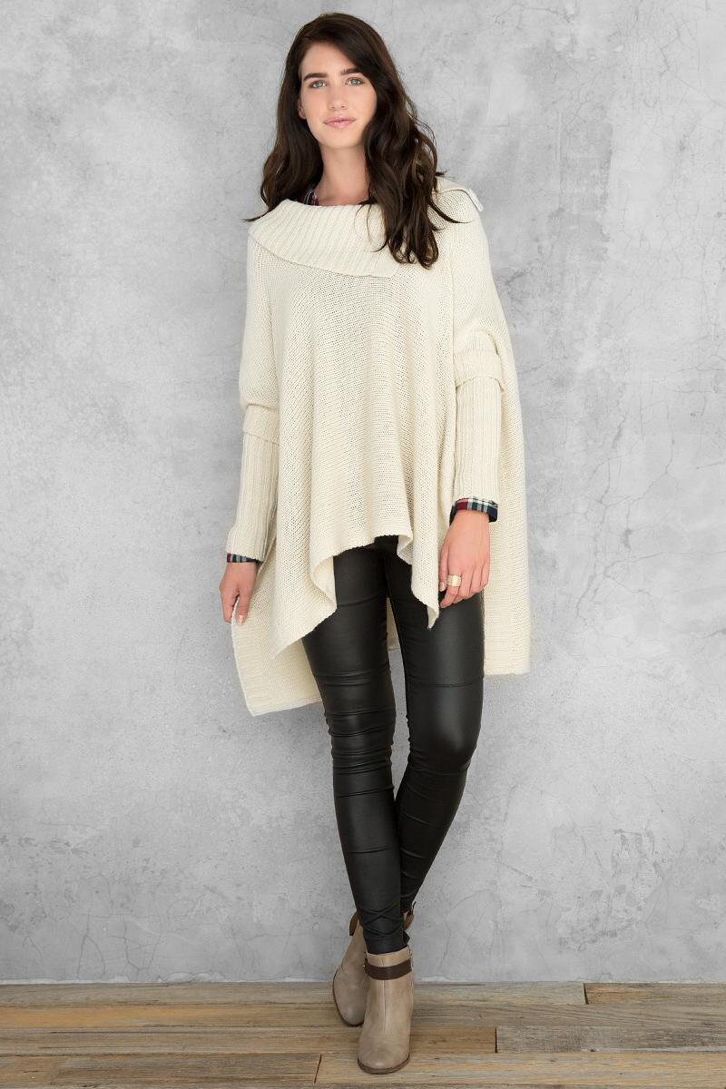 Amanda Poncho Sweater-  taup-clmodel