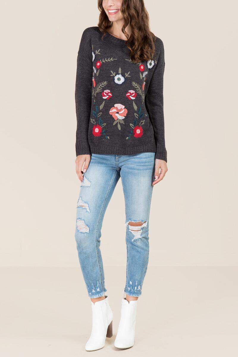 Alecia Floral Embroidered Pullover Sweater-  gray-clmodel