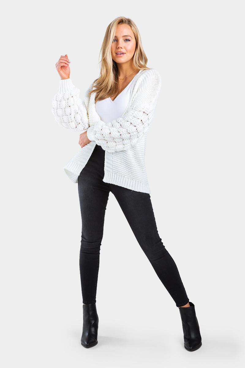 Verona Bobble Sleeve Open Cardigan-Ivory 2