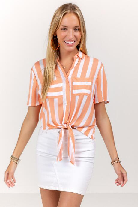 Liv Striped Front Tie Button Down Top