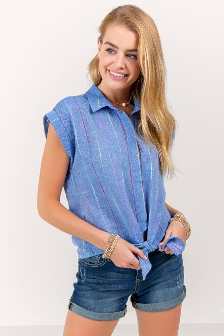 Jan Front Tie Button Down Top