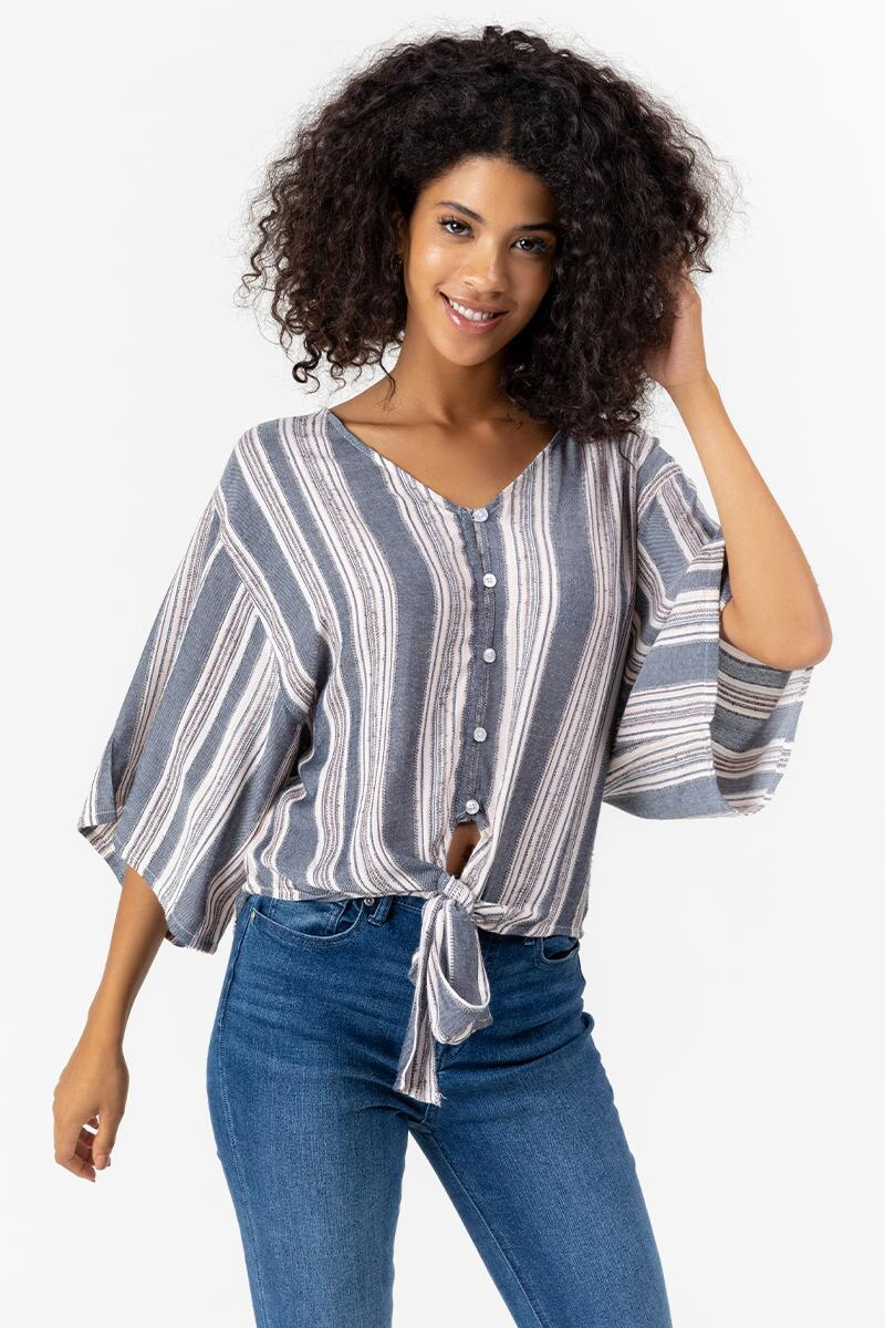 Jasmine Striped Button Front Top