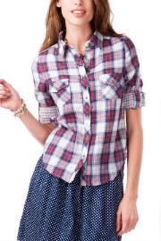 Graham Plaid Buttoned Top