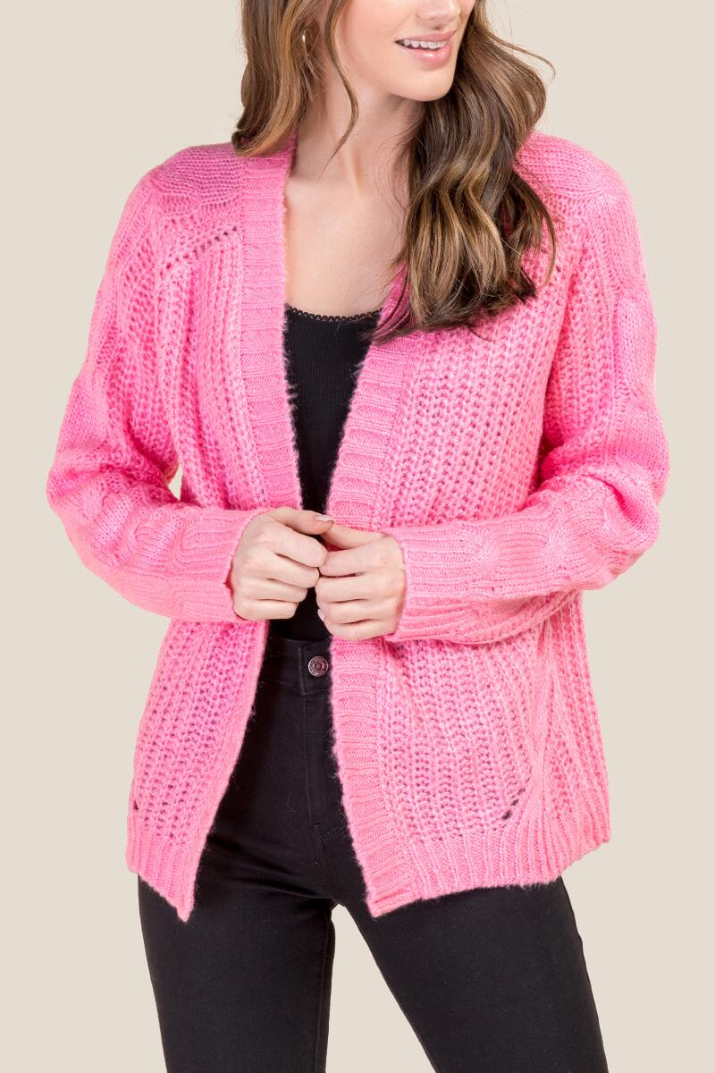 Emma Cable Sleeve Cardigan-  npink-cl