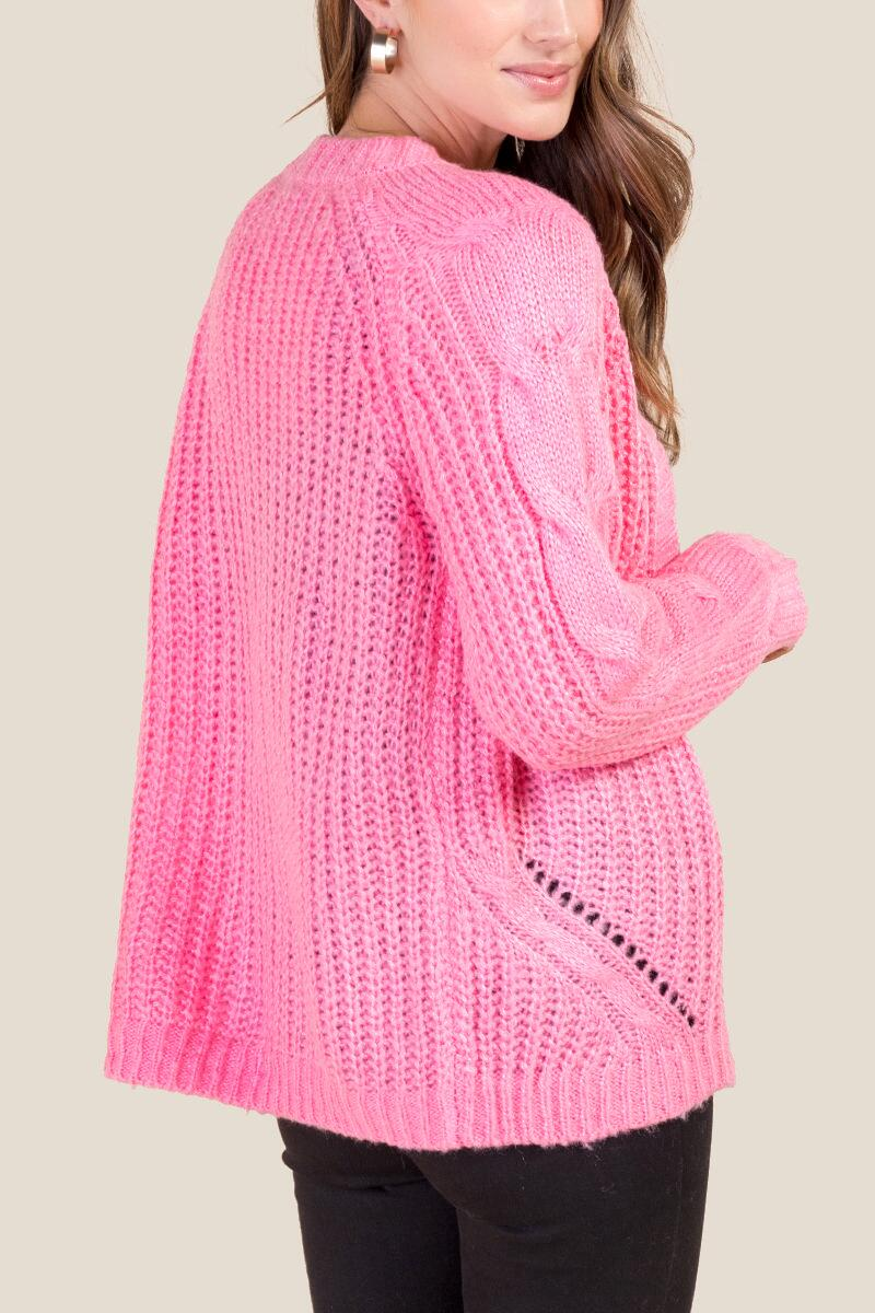 Emma Cable Sleeve Cardigan-  npink-cl2