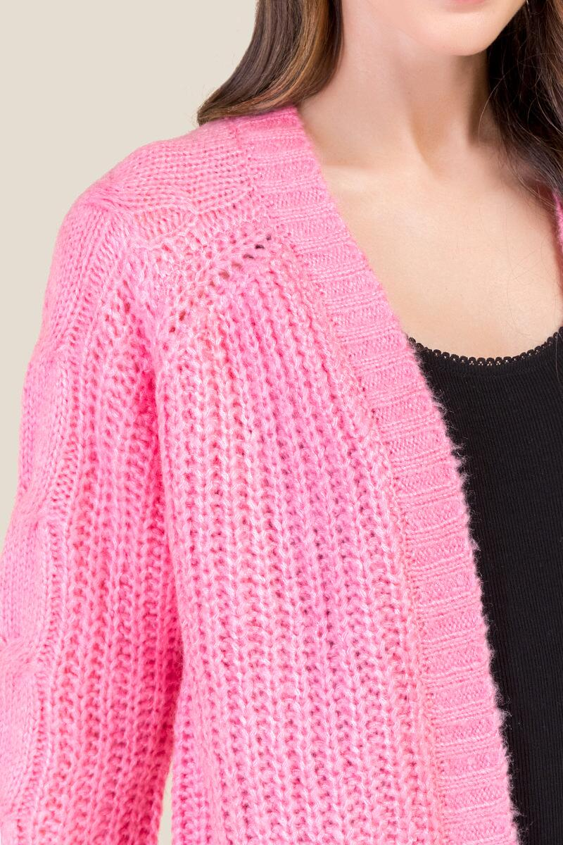 Emma Cable Sleeve Cardigan-  npink-cl3