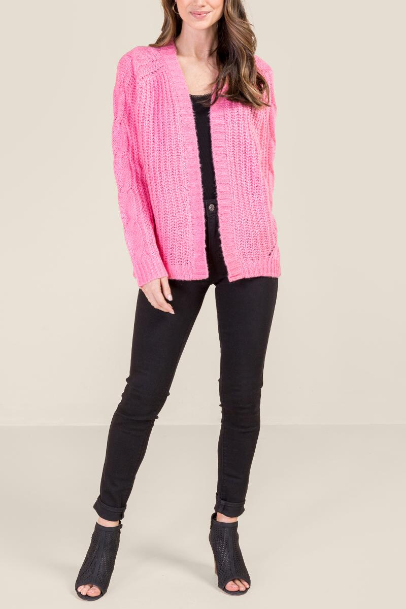 Emma Cable Sleeve Cardigan-  npink-cl4