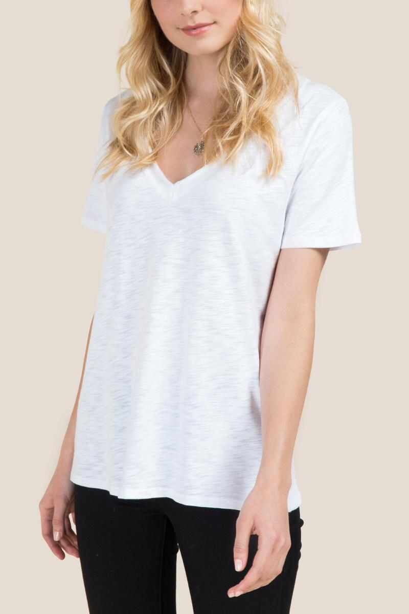 Caitlyn Short Sleeve Basic V Neck Tee