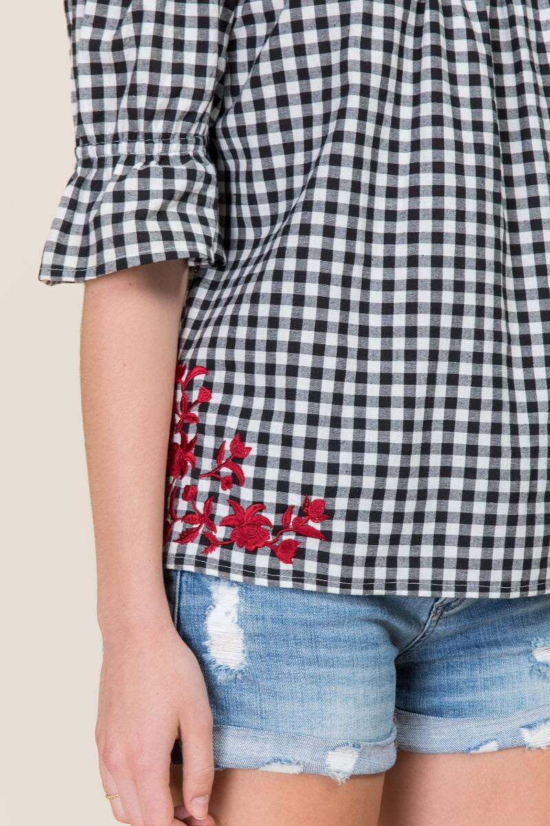 Adelina Embroidered Gingham Off The Shoulder Top-  bkw-clalternate
