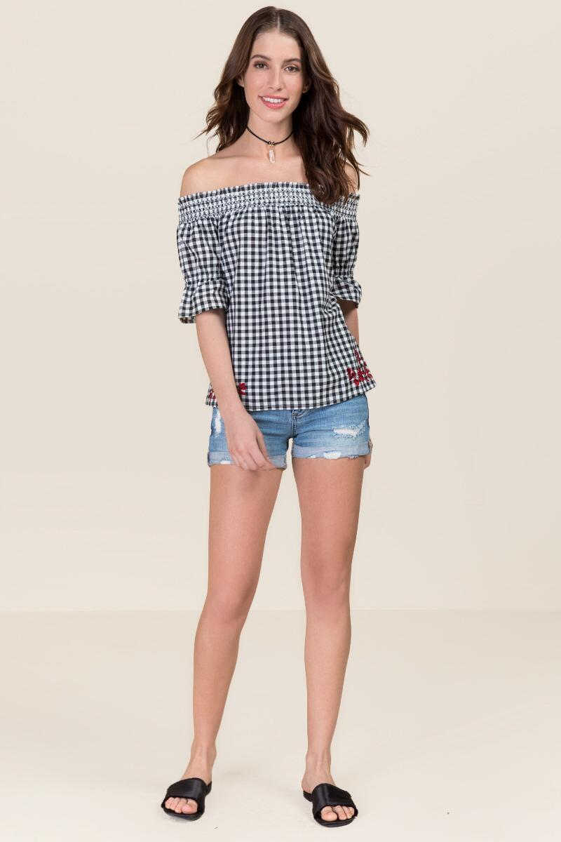 Adelina Embroidered Gingham Off The Shoulder Top-  bkw-clmodel