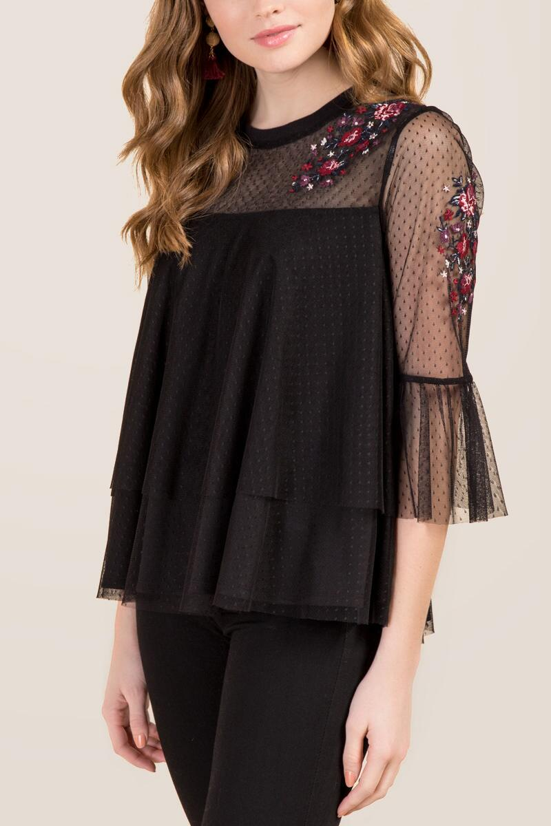 Charlotte Sheer Embroidered Flounce Top