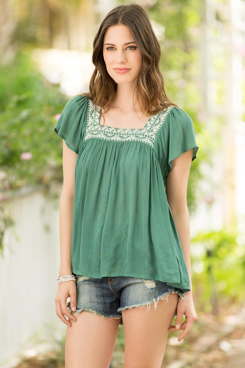 Wylie Embroidered Blouse-  olv-cl